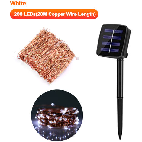 Solar Powered String Lights 300 LEDs Solar Copper Wire Lamp Fairy Lights, White, 20M Length