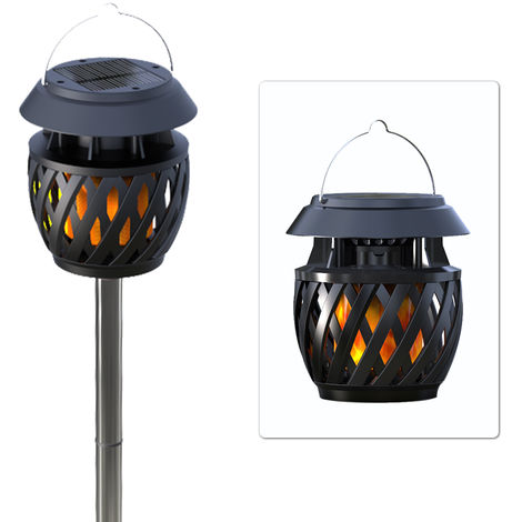 Solar Dancing Flame Light LEDs Garden Light with Ground Rod Flickering Flames Hanging Lantern Landscape Lighting