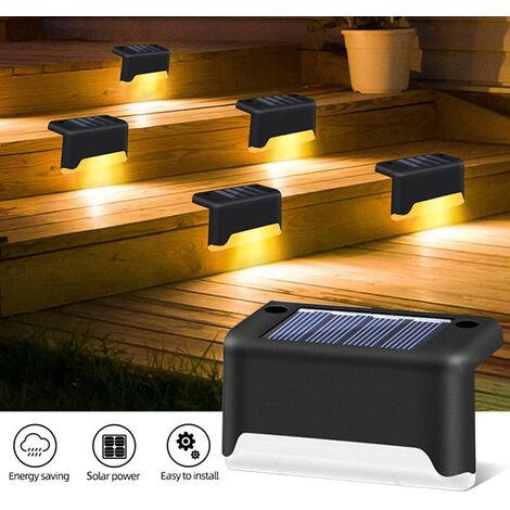 Solar de la lampara de la escalera, impermeable al aire libre paso de la lampara, luz del jardin del paisaje de la decoracion de la lampara de poste de la lampara, Negro, Mixcolor Luz, 4PCS