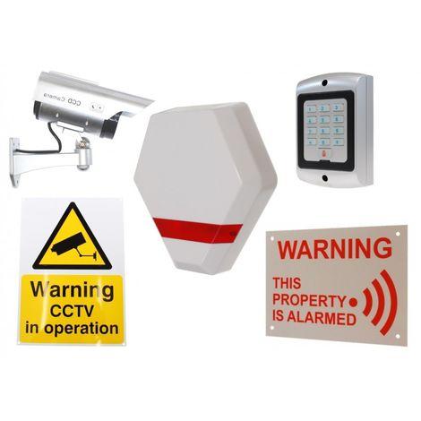Solar Dummy Compact Alarm Siren, DC2 Solar Dummy Camera, Dummy Keypad & 2 x Signs. [014-0240]