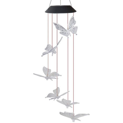 Solar Energy Powered Wind Chime Lamp Color-changing Butterfly Outdoor Garden Street Solar Panel Light
