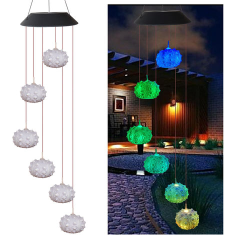 Solar Energy Powered Wind Chime Lamp Color-changing Outdoor Garden Street Solar Panel Light