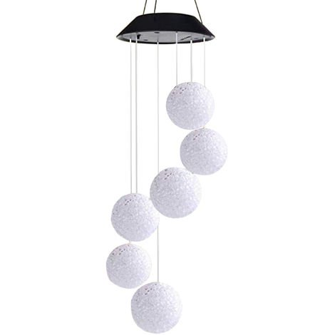 Solar Energy Powered Wind Chime Lamp Color-changing Particle Ball Waterproof Outdoor Garden Street Solar Panel Ball Light