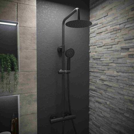 Solar Exposed Bar Shower Mixer Kit - Thermostatic Riser in Matt Black
