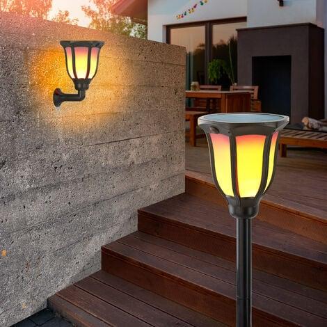 Solar Fackel 2er-Set Flammeneffekt Gartenfackel Solarlampe Garten esotec 102495