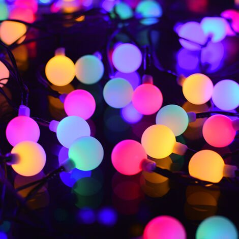 Solar Fairy Lights, 100 LED Indoor and Outdoor Colored String Lights IP65 Waterproof 8 Modes, USB Ball Lights Pretty Decoration for Christmas, Party, Garden, Terrace, Balcony
