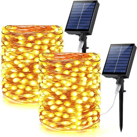 Solar Fairy Lights, 2 Pack 66ft 200 LED Large Lamp Beads Super Bright Solar String Lights Outdoor Waterproof, 8 Modes Solar Twinkle Lights, Mini Solar Lights for Indoor Outside, Warm White