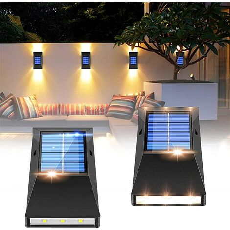 """main image of """"Solar fence lights, 4 pieces of solar lights outdoor garden fences, outdoor solar wall lights are used for terraces, fences, yards, gardens, garages, stairs, gates SOEKAVIA"""""""