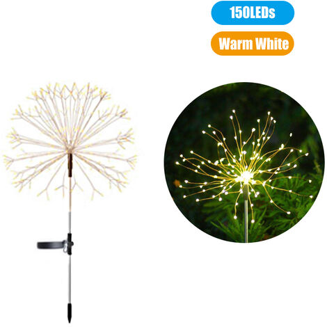 Solar firework string lights Lawn lights IP65 waterproof rating Built-in 600mAh large capacity rechargeable battery, 150LEDs,Warm White