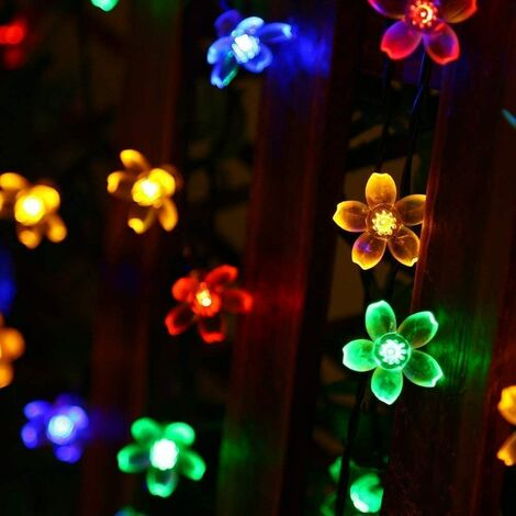 Solar Flower String Lights Outdoor Waterproof 50 LED Fairy Light Decorations for Garden Fence Patio Yard Christmas Tree, Home, Lawn, Wedding, Patio, Party Decoration (Multi-Colored)