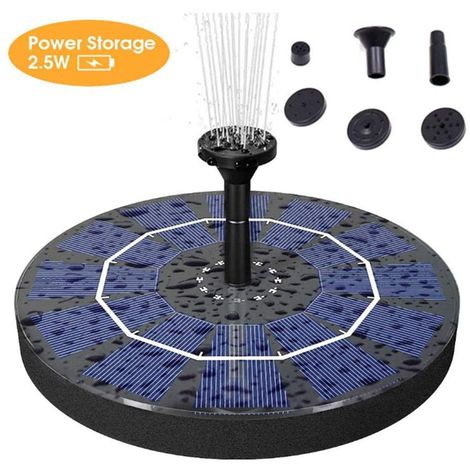 Solar Fountain Pump, 2.5W Solar Powered Water Fountain Pump with 800 MAh Battery Backup, Free Standing Bird Bath Fountain Pump for Birdbath, Pond, Pool, Garden and Lawn