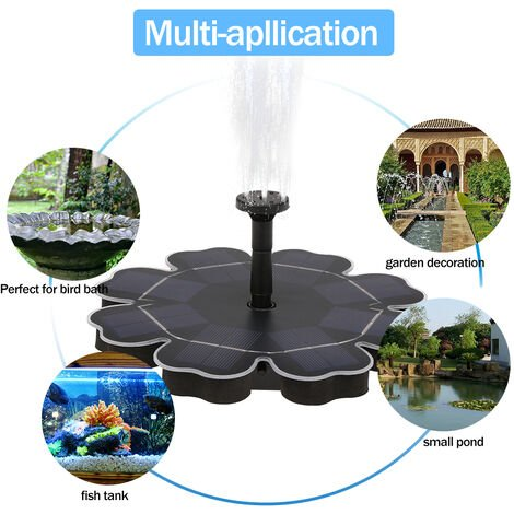 Solar Fountain Pump for Birdbath Floating Brushless Water Pump Black