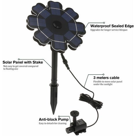 Solar Fountain Pump for Flower Shaped Solar Panel - Black