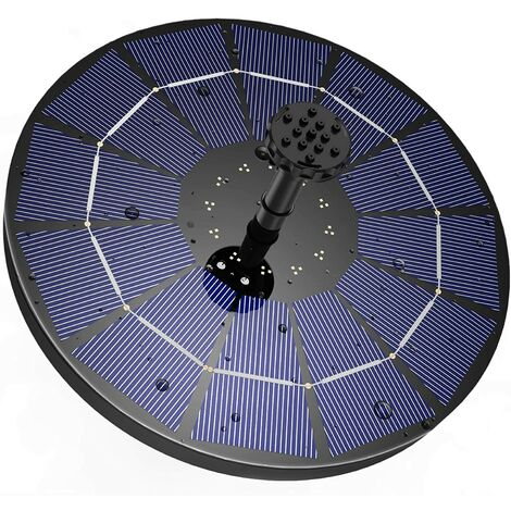 Solar fountain with 3.5W solar panel, 1200mAh built-in battery water pump, solar pond pump