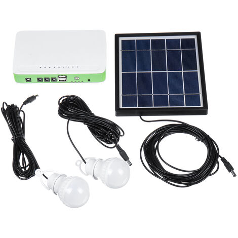 Solar Generator System 2x LED Light Bulb+Solar Panel+Power Bank Solar Lamp Kit