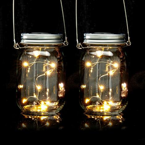 Solar Glas 2er Set, je 8 LED im Einmachglas, stellen oder hängen, Solarleuchte für den Garten, transparent
