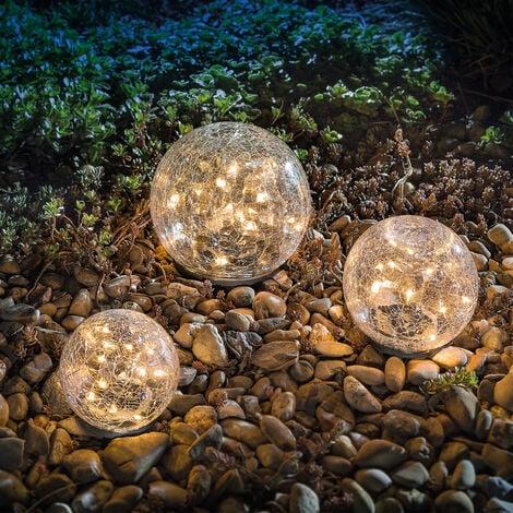 Solar Glaskugel Set Gartenleuchten warmweiß Solarlampe Glasleuchte esotec 102088