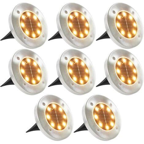 Solar Ground Lights 8 pcs LED Lights Warm White