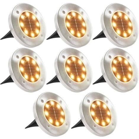 Solar Ground Lights 8 pcs LED Lights Warm White - White