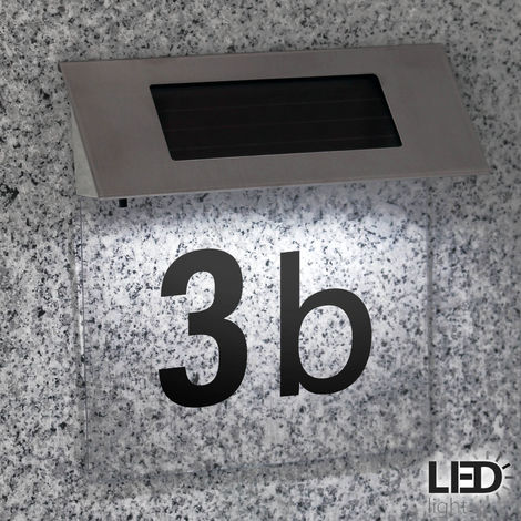 Solar House Number Plaque with Transparent Background & Numbers/Letters