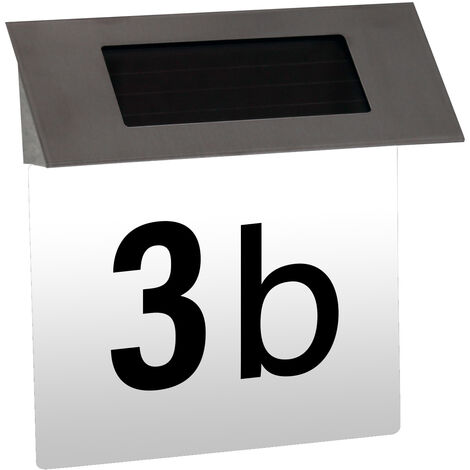 Solar House Number Plaque with White Background & Numbers/Letters