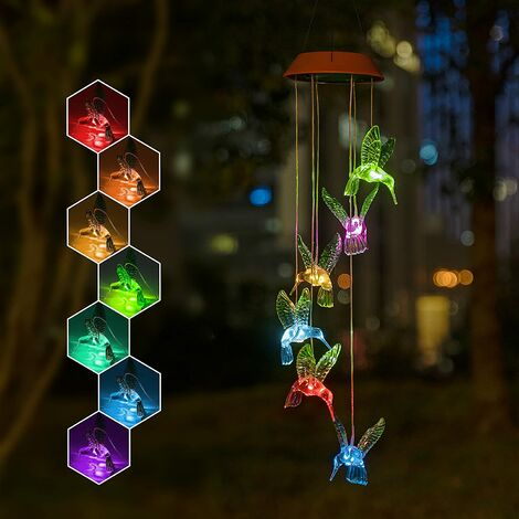 Solar Hummingbird Wind Chimes, Solar-Powered, Mobile, Hanging, Patio Lights with 6 Vivid Hummingbirds,Multi-Color Changing LED Garden Decoration As Gift for Family and Friends