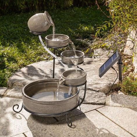 Solar Kaskadenbrunnen Garten Solarbrunnen Gartenbrunnen Brunnen esotec 101306
