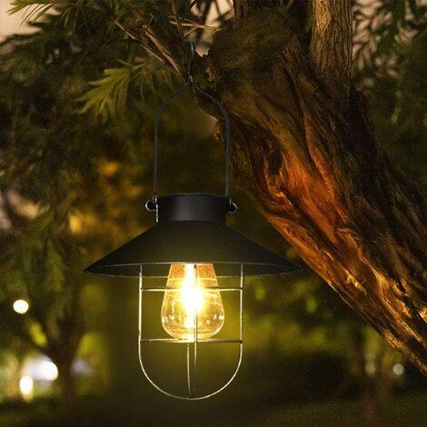 Solar lantern for outdoor, vintage style in metal - Solar LED lamp for garden, patio, garden or path