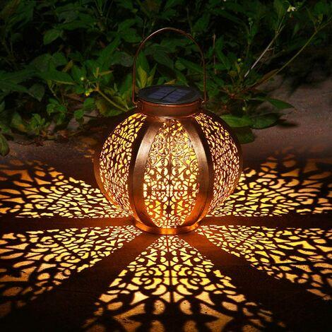 Solar Lantern Garden Outdoor Decoration Waterproof Solar Patio Light Fixture Decorative Metal Patio Lamp for Lawn Patio Party Decorations (A)