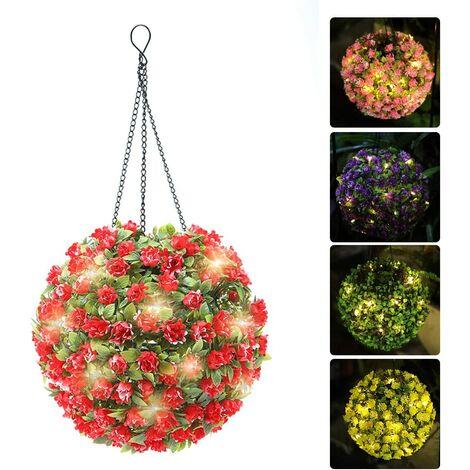 Solar Lantern Hanging Lights Outdoor Waterproof Solar Garden Bulb Lights Decor for Yard Porch Tree Fence Patio (Red)