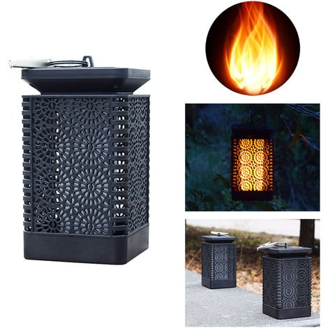 Solar Lantern Lights Dancing Flame Solar Powered Light Water-resistant Outdoor Hanging Landscape Decorative Lamp