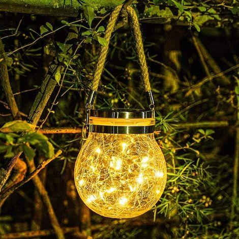 "main image of ""Solar Lantern Outdoor Hanging Solar Light led Mason Jar Light Waterproof Solar Table Lamp Crack Glass Garden Globe Light for Patio Yard Party Wedding Christmas Decoration Outdoor Light Warm White"""