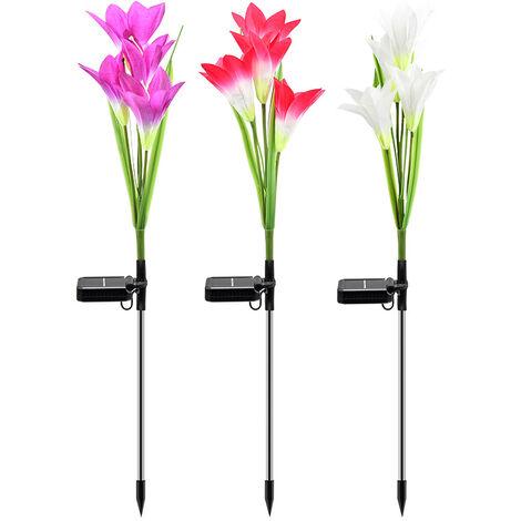 Solar Lawn Lights, Artificial Flower Lights, 4 Large Lily Lights, Garden Lights, Garden Landscape Lights