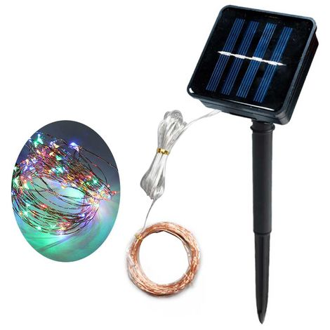 Solar LED cadena de cobre de la estrella Cadena de luz, 300 LED, Mixcolor