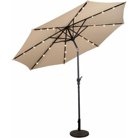 Solar LED Sombrilla de Playa 3M Plegable Quitasol Parasol para Jardín Patio Balcón Beige