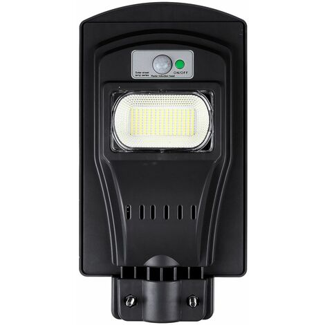 Solar LED Street Light + PIR Motion Sensor Outdoor Wall Lamp (Black, 240W with Remote Control Without Pole)
