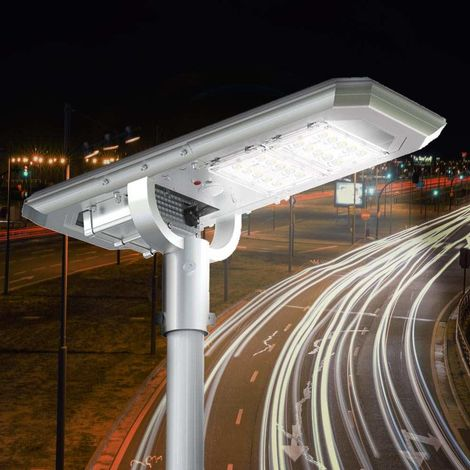 Solar LED Streetlight 2K Lumens with Built In Panel and Sensors for Streets Parking Lots Exteriors ATLAS