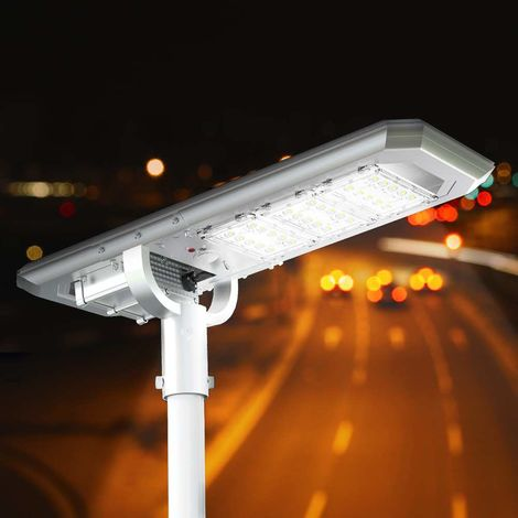 Solar LED Streetlight 3000 Lumens with Built In Panel Motion and Dusk-Till-Dawn Sensor TERMINATOR