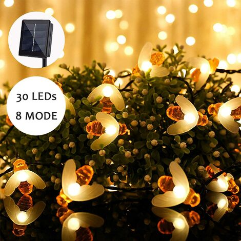 Solar LED String Lights for Outdoor - 30 Warm White Lights - Waterproof Outdoor String Lights - Decoration for Garden, Patio, Lawn, Party, Wedding, Home, Balcony