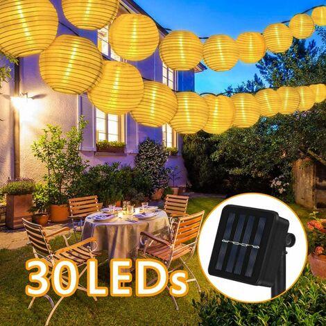 Solar Lichterkette Lampions Außen 6 Meter 30 LED Laternen 2 Modi IP65 Wasserdicht Solar Beleuchtung Aussen für Garten, Hof, Hochzeit, Fest Deko (Warmweiß)