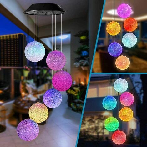 Solar Light Wind Chimes Light for Outdoor, Color Changing Solar LED Ball Wind Chimes Lighting, Birthday Christmas Gift for Mothers Daughter, Garden / Patio Hanging Lamp Decoration