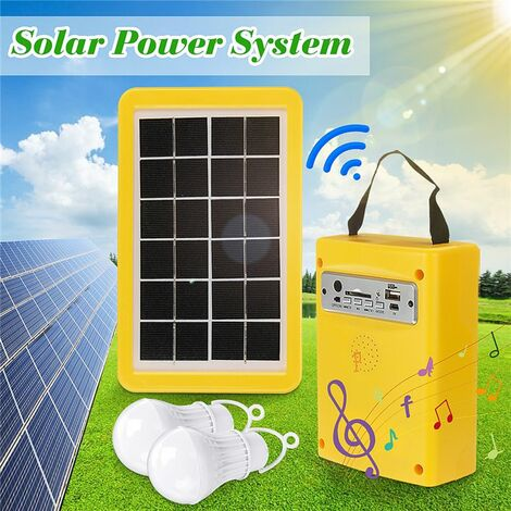 Solar lighting system with 2 LED bulbs and USB cable 4 in 1 5V 1A output Portable Bluetooth radio Camping