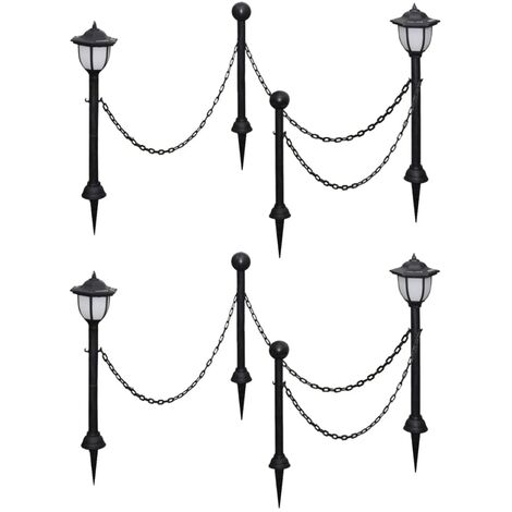 Solar Lights 4 pcs with Chain Fence and Poles - Grey