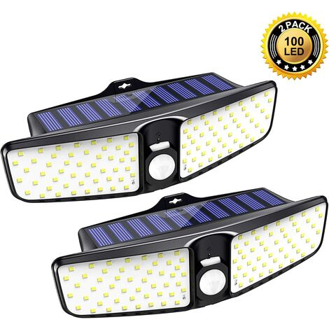 Solar Lights Outdoor, [2 Pack] 100 LEDs Solar Motion Sensor Light Outdoor with 210° Wide Angle, IP65 Waterproof Deck Lights, Security Night Wall Light for Outside, Garage, Yard, Fence, Pathway