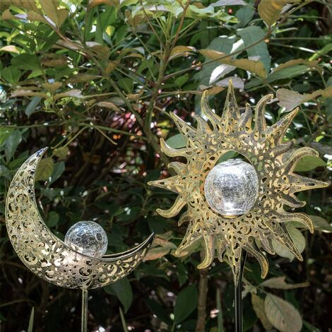 Solar Lights Outdoor Decorative Garden Decor,Waterproof Metal Sun Moon Stakes Crackle Globes Decoration for Walkway,Yard,Lawn,Patio(2 Pack)