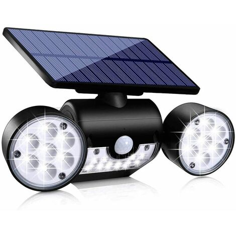 Solar Lights Outdoor, Motion Sensor Security Lights Solar Wall Lights with Dual Head Spotlights 30 LED Waterproof 360° Adjustable Solar Motion Lights Outdoor