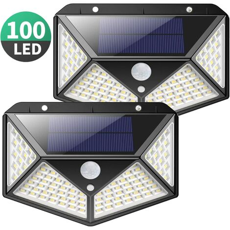 """main image of """"Solar Lights Outdoor,[2200mAh Super Bright Energy Saving] 100 LED Motion Sensor Security Lights Solar Wall Lights 270º Solar Powered Lights Waterproof with 3 Modes for Outside (4 Pack)"""""""