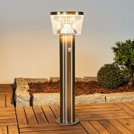 Solar Lights with Sensor 'Antje' (modern) in Silver made of Stainless Steel (1 light source, A+) from Lindby