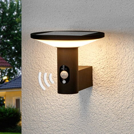 Solar Lights with Sensor 'Jersy' (modern) in Black made of Aluminium (1 light source, A+) from Lucande
