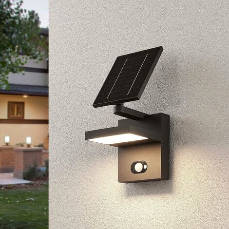 Solar Lights with Sensor 'Silvan' (modern) in Silver made of Aluminium (1 light source, A+) from Lucande